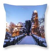 Moon Over Snowy Bastei Bridge Throw Pillow