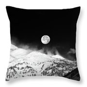 Moon Over The Alps Throw Pillow