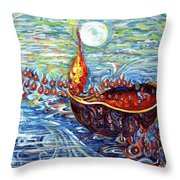 Moon Over The Ocean Throw Pillow