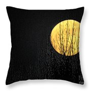Moon Over The Trees Throw Pillow