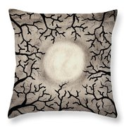 Moon Over Trees Throw Pillow