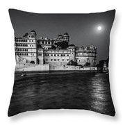 Moon Over Udaipur Bw Throw Pillow