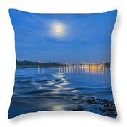 Moon Over Vistula River In Warsaw Throw Pillow