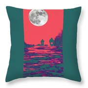 Moon Racers Throw Pillow