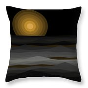 Moon Rise Abstract - Black And Gold Throw Pillow