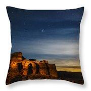Moon Rise At Pillars Of Rome, Oregon, Usa Throw Pillow