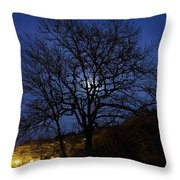 Moon Rise Behind Tree Silhouette At Night Throw Pillow