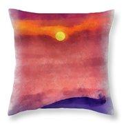 Moon Rise In Aquarelle Throw Pillow