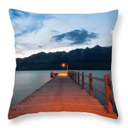 Moon Rising At Glenorchy Wharf, New Zealand Throw Pillow