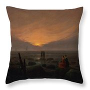 Moon Rising Over The Sea Throw Pillow
