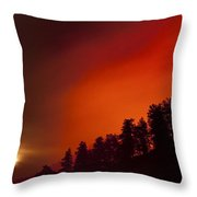 Moon Rising With A Wild Fire Throw Pillow