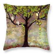 Moon River Tree Owls Art Throw Pillow