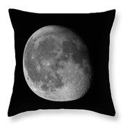 Moon Waning Gibbous Against Black Night Sky High Resolution Image Throw Pillow