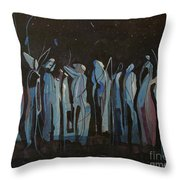 Moon Watchers Throw Pillow by Paula Marsh