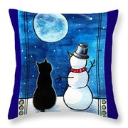 Moon Watching With Snowman - Christmas Cat Throw Pillow