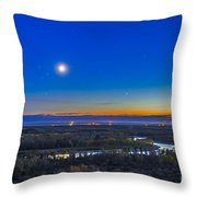 Moon With Antares, Mars And Saturn Throw Pillow