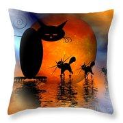 Mooncat's Catwalk Throw Pillow by Issabild -