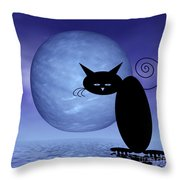 Mooncat's Loneliness Throw Pillow by Issabild -