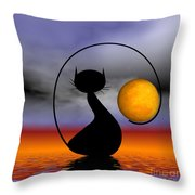 Mooncat's Waiting  Throw Pillow