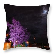 Moonlight And Colored Trees Throw Pillow