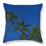 Moonlight And Star Trails Throw Pillow