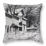Moonlight Bannack Ghost Town Montana Throw Pillow