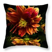 Moonlight Dahlia Throw Pillow