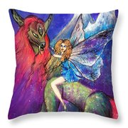 Moonlight Fairy And Her Horned Horse Throw Pillow