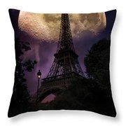 Moonlight In Paris Throw Pillow