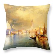 Moonlight In Venice Throw Pillow