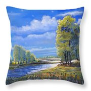 Moonlight On Clear Creek Throw Pillow