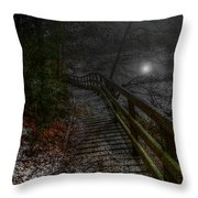 Moonlight On The River Bank Throw Pillow