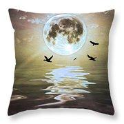 Moonlight On Water Throw Pillow