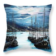 Moonlight Over Port Of Spain Throw Pillow