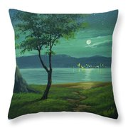 Moonlight Over The Sea Throw Pillow