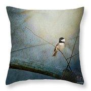 Moonlit Chickadee Throw Pillow