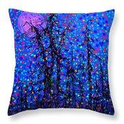 Moonlit Forest Throw Pillow