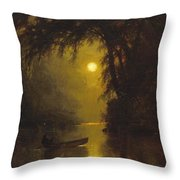 Moonlit Landscape Throw Pillow