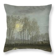 Moonlit Landscape Throw Pillow