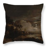 Moonlit Landscape With A View Throw Pillow