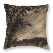 Moonlit Landscape With Tree At The Left Throw Pillow