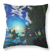 Moonlit Moto Throw Pillow