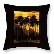 Moonlit Palm Trees In Yellow Throw Pillow