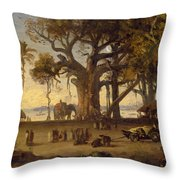 Moonlit Scene Of Indian Figures And Elephants Among Banyan Trees Throw Pillow