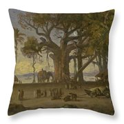 Moonlit Scene Of Indian Figures And Elephants Among Banyan Trees. Upper India Throw Pillow