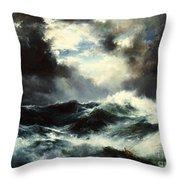 Moonlit Shipwreck At Sea Throw Pillow