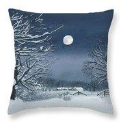 Moonlit Snowy Scene On The Farm Throw Pillow