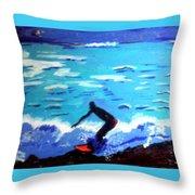 Moonlit Surf Throw Pillow