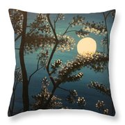 Moonlit Trees Throw Pillow
