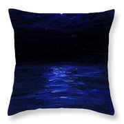 Moonlit Water Mini Oil Painting On Masonite Throw Pillow